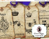 75% OFF SALE SHABBY Old French Digital Collage Sheet Digital Tags Digital Collage Instant download