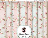 75% OFF SALE DIGITAL Paper Digital Collage Sheet set of 8 - 5x7 inches - Shabby Roses 01 Background Large Image Scrapbooking