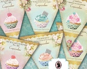 75% OFF SALE BANNER Lovely Cupcakes Digital Collage Sheet Set of 6 Big and 6 Small Banners Scrapbooking Instant Download