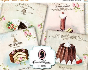 75% OFF SALE Digital Sheet SHABBY Vintage Cakes Digital Collage Sheet DIgital Tags Coasters Cards Instant Download