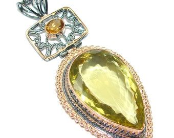 Citrine, Topaz Sterling Silver Pendant - weight 26.50g - dim L -3, W -1 3 8, T -1 2 inch - code 13-lis-15-6