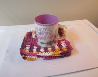 CROCHETED COASTERS Face Cloth Pot Holder in Batik Cotton Yarn Sold in a Set of 4