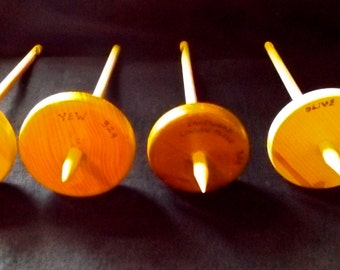 4 WOODEN Hand Turned DROP SPINDLES - made from Named British Woods - Great for Experienced Spinners and Learners