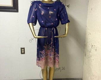 1970's Vintage Sheer Navy and Asian Inspired Floral Print Aline Dress