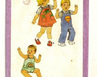 """An Overalls, Short Overalls, Jumper, Panties, & Shirt Pattern with Applique Transfers: Uncut- Toddlers Size 1 Breast 20""""  • Simplicity 8950"""