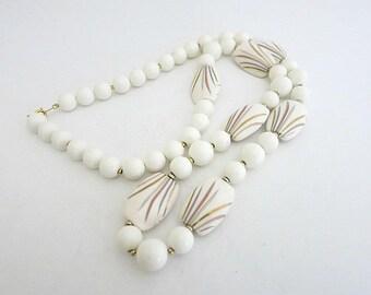 White Lucite Bead Necklace Decorative Design Japan