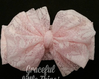 Pink Lace Bow Headwrap