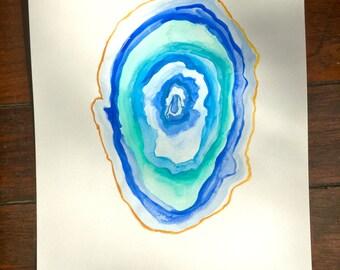 Original Agate Watercolor Artwork