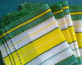 Colorful Vintage Table Linens - 4 Napkins- Green, White and Yellow