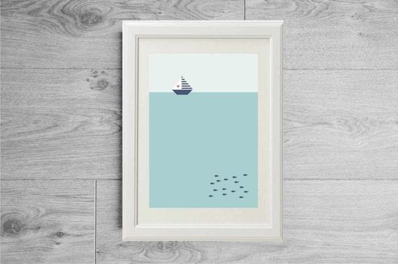 Affiche minimaliste mer et bateau affiche scandinave for Affiche minimaliste