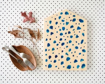Scandi Food Platter, Hand Painted Serving Board, Blue Dalmatian Dots, Light wood, Blonde Bamboo, House Board, Eco Wedding Gift, Mothers Day