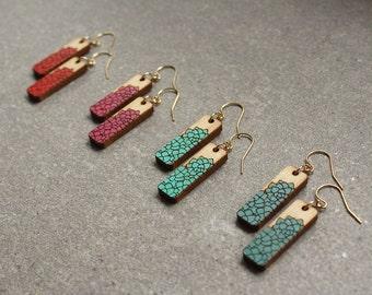 Flower Earrings   Handpainted Earrings   Colorful Earrings   Wood Earrings   Laser Cut Earrings   Gifts for Her   Floral Earrings