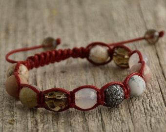 Shamballa bracelet. Women's jewelry. Pink shamballa cord jewelry