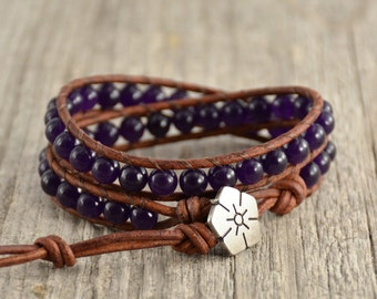 Double wrap bracelet. Amethyst purple beaded jewelery