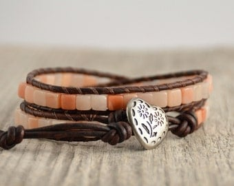 Leather wrap bracelet. Pink cube bohemian chic bracelet. Cube bead beaded bracelet
