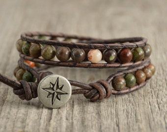 Earthy beaded bracelet. Rustic jewelry. Compass button leather wrap bracelet