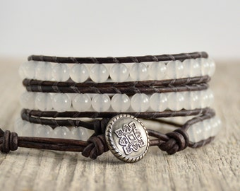 Triple wrap white bohemian chic bracelet. Stack bracelet