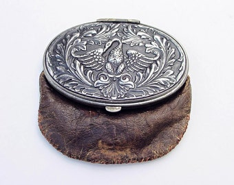 Antique 1900s Tam O'Shanter Leather Coin Purse With Swan Repousse Lid - Repaired