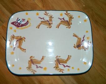 HARTSTONE Santa's Sleigh & Reindeer Rectangular Platter -