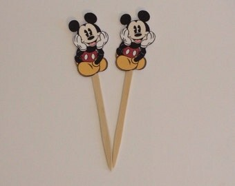 12ct Antique Mickey inspired cupcake picks