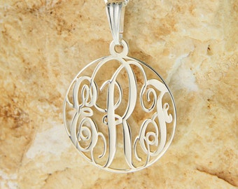 """Sterling Silver Circle Monogram Necklace 1.2"""" with chain"""