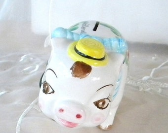 ON SALE NASCO 1950s Ceramic Piggy Bank, Flowered, Yellow Hat, Blue Bow,Says Cash Only, No Refunds, Kitschy
