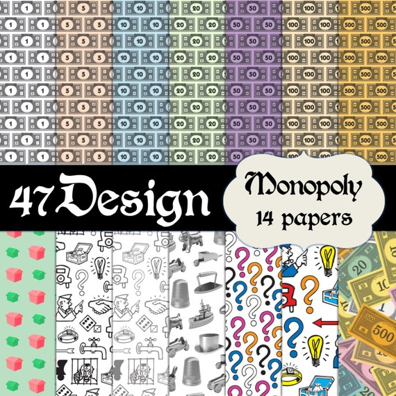 Monopoly themed digital scrapbook paper 14 12x12 300dpi for Themed printer paper