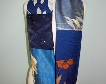 Vintage Blue Japanese silk infinity scarf