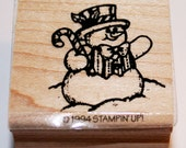 Happy Christmas Snowman Rubber Stamp from Stampin Up