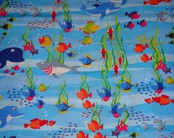 Blue Ocean Animal/Sea Life Cotton Fabric by the Yard