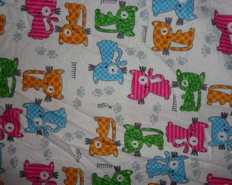 White Kitten/Cat Flannel Fabric by the Yard