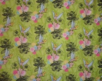66 Inches Green/Black Tinkerbelle Flannel Fabric