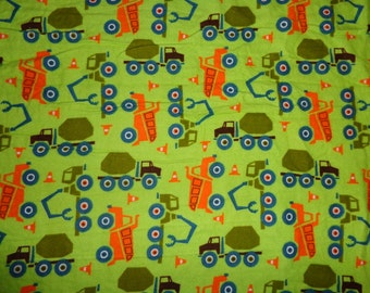 Green/Orange Construction/Truck Flannel Fabric by the Yard