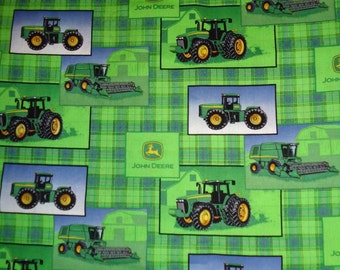 Green Plaid John Deere Tractor Cotton Fabric by the Yard