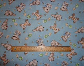 Blue Teddy Bear/Duck Flannel Fabric by the Yard