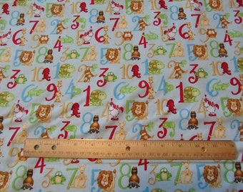 Blue Henry Glass Animal Number Cotton Fabric by the Yard