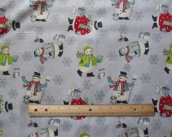 Gray Snowman/Snowflake/Woodland Animal Winter Cotton Fabric by the Yard