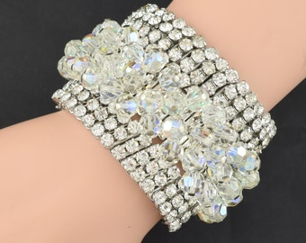Lot of Vintage Expansion Bracelets Rhinestone AB Crystal ~ Lot 416
