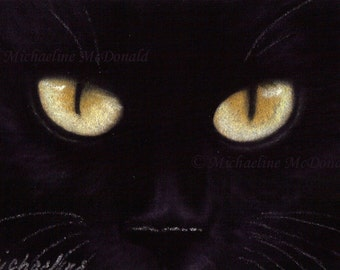 Black Cat Eyes Painting - cat painting, cat eyes painting, cat art, black cat painting, cat art print, cat lover gift, cat poster
