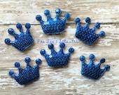 6 pc set- Princess Crown- BLUE padded sequin applique- scrapbook embellishment