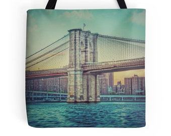 Brooklyn Bridge Print, NYC Bag, Brooklyn Bridge Photo, Brooklyn Bridge Tote, New York City Bag, NYC Skyline, NYC Tote