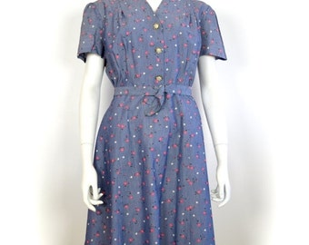 ON SALE 50s dress: 50s floral print / slouchy 50s dress / 50s sac dress / 50s loose dress / vintage 50s dress / VTG 50s dress / retro 50s rh