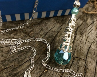 Crystal necklace aqua blue crystal pendant  February Birthstone teardrop Victorian style