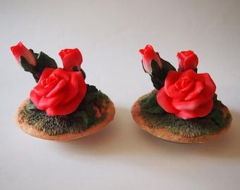 Pink Rose Decorative Lids (Set of 2)