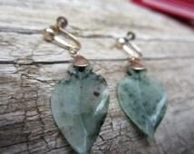 Vintage Art Deco Jade Earrings,Sterling Silver Screw Back Earrings,1930sJewelry,Spinach Jade Earrings, Original Art Deco Box