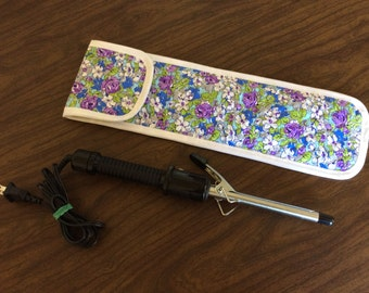 Purple and Blue Flowered Curling Iron Case