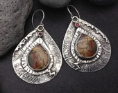 Large heavy solid sterling silver boho statement earrings with fall colors rust, orange, brown, red, beige, olive jasper and garnets  OOAK