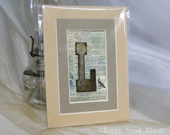 Rustic Letter L on Vintage Dictionary Page Matted to 5 X 7