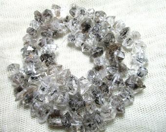 WOW Double Terminated  Rutilated Natural Herkimer Crystal Type Diamond Quartz Beads strands Pakistan HE159