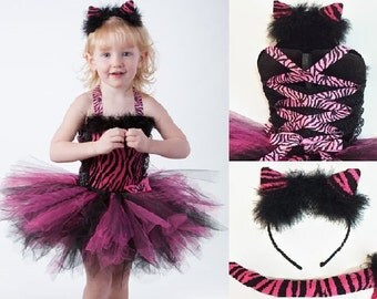 TIGER CAT COSTUME Pink Tutu Dress 3pc Set w/ Kitty Ear Headband, Removable Cat Tail, Hot Pink and Black, Pageant, Toddler, Girls, Halloween